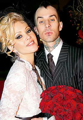 Travis Barker And Shanna Moakler At Their Wedding Oct 30 2004
