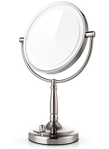 Miusco 7x Magnifying Lighted Makeup Mirror 8 Inch Two Sided Led