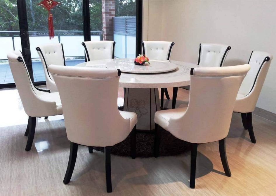 Round Table 8 Chairs Tables And For Party To Hire Dining Room Wonderful Marble Cream Used Small Brown Carpet Front Glass Doors Beside White Wall The Classy