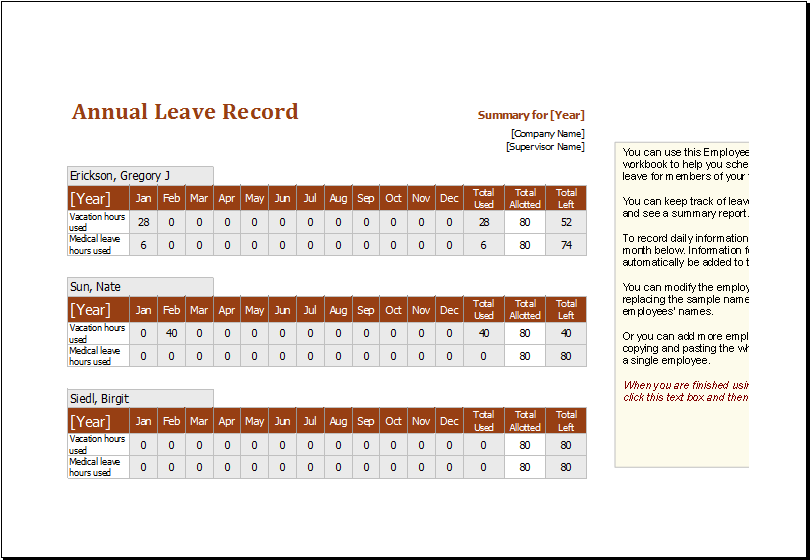 Employee Annual Leave Record Spreadsheet Download At Http