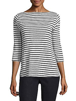ddf93760ae859f Eileen Fisher Linen Striped Boatneck Top | My Style in 2019 | Tops ...