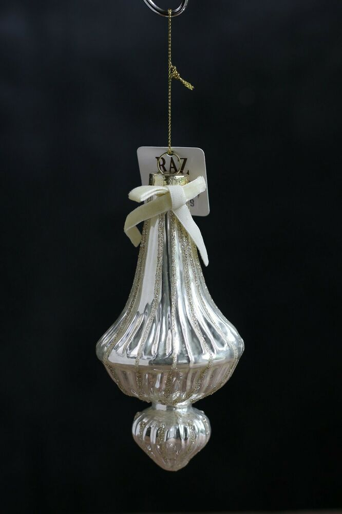 Christmas Ornament Glass Silver Finial Victorian Style Raz ...