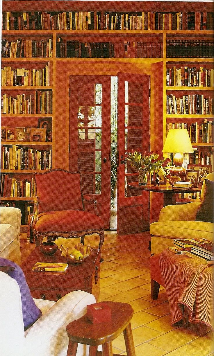 Floor to ceiling book shelves - a study room must have!