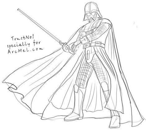 How to draw Darth Vader step 5 pictures to draw Pinterest