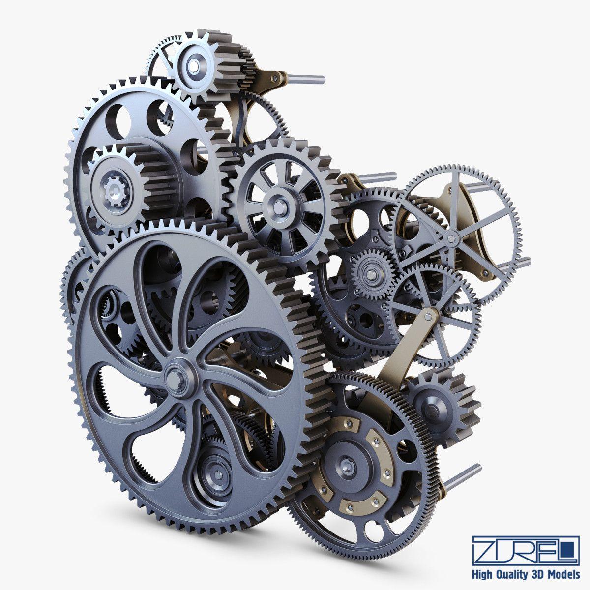 gear mechanism v 1 3d model 3d model, Gears, Model