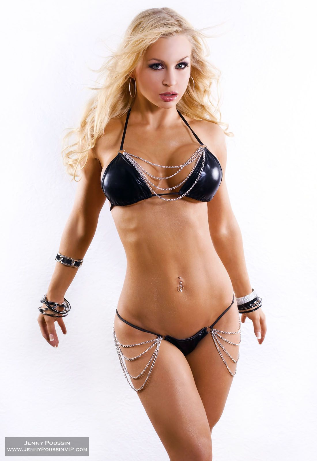 jenny poussin of her set black & white chain bikini | bikini