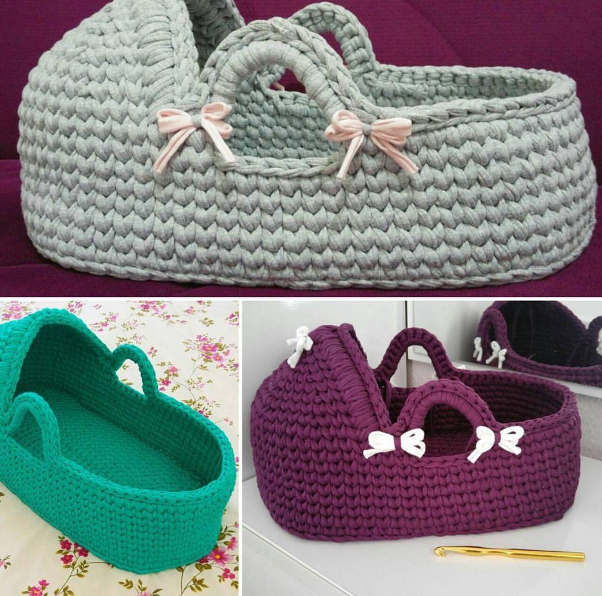 Crocheted Babies Carry Cot Crochet For Kids Crochet Dolls