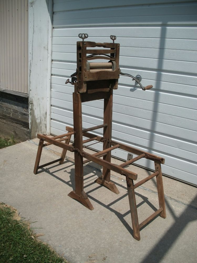 Antique Brighton Lovell Clothes Wringer Washer With Folding Tub Stand Pat 1895 Wringer Washer Wringer Antiques