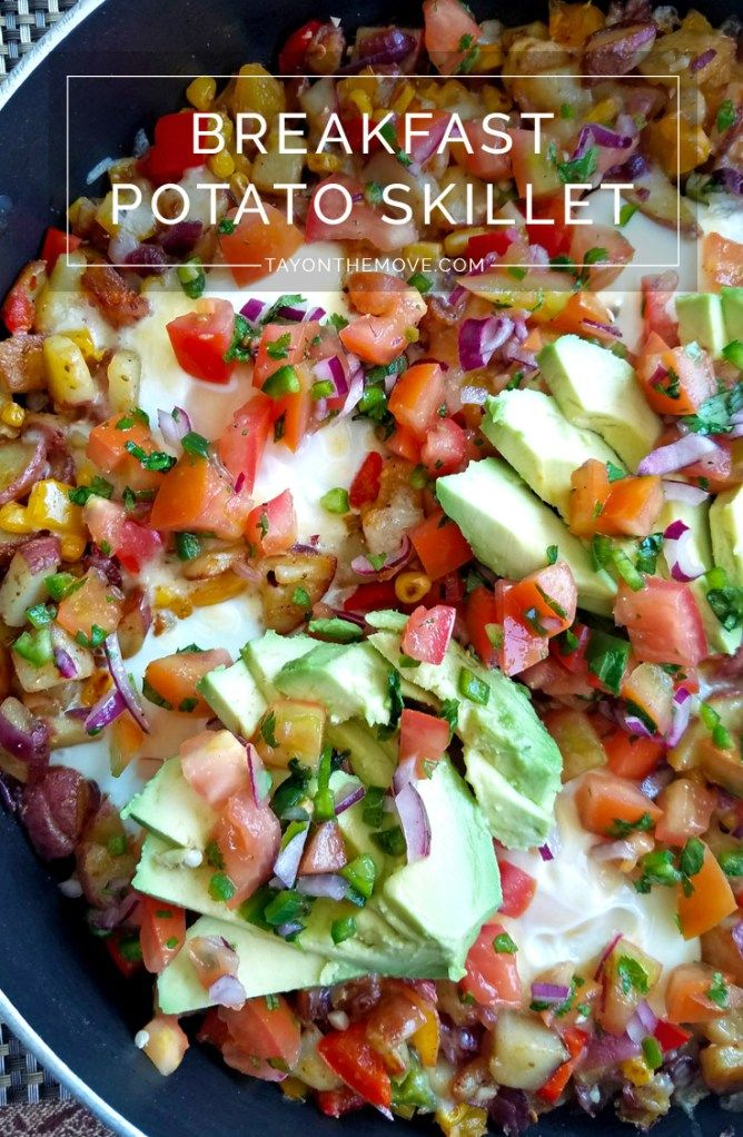 breakfast skillet #breakfast Breakfast Potato Hash/Skillet with Eggs - A perfect recipe to make while using Thanksgiving leftovers!