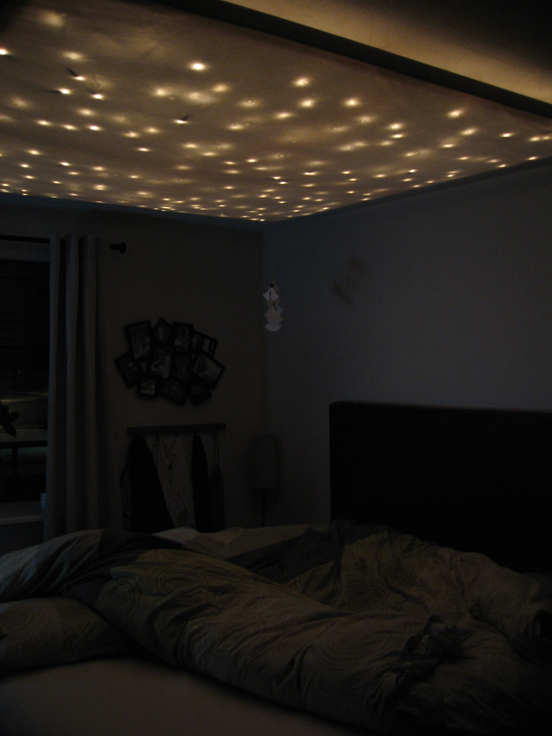 Bedroom wall string lights - Mood Lighting W Xmas Lights And Fabric Http Www Reddit
