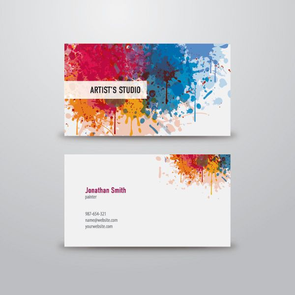 Artist Business Card Artist Business Card Colors Painter - Graphic design business cards templates