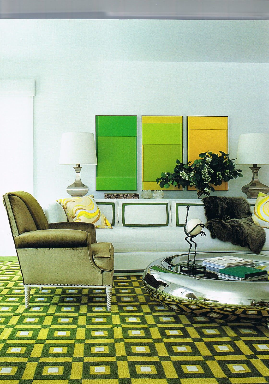 Play On Vibrant Color Using David Hicks Geometric Carpet As The Foundation Decor Geometric Carpet Interior Design