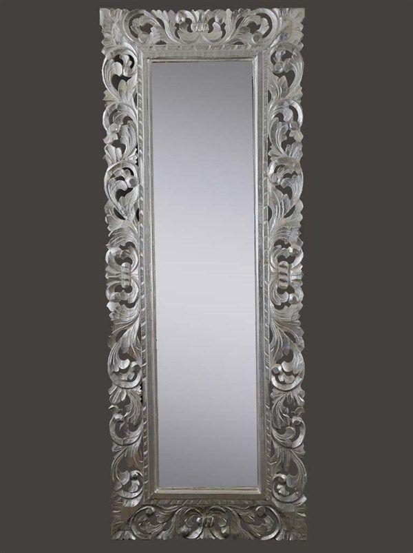Specchio color argento 145x55 cm stile barocco Baroque
