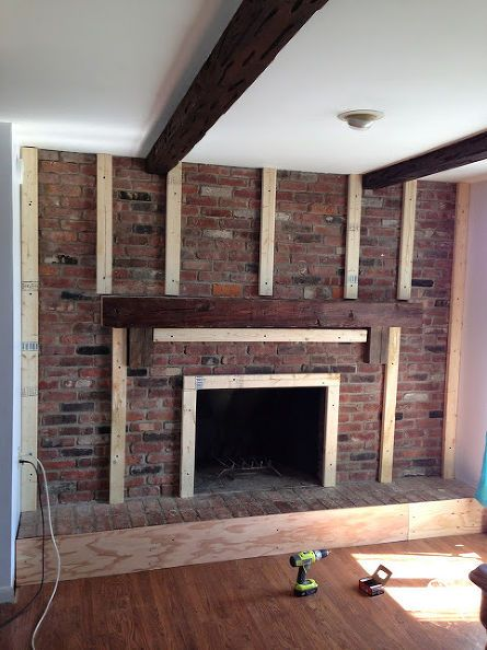 Fireplace Redo Cottage Chic Brick White Diy Fireplaces Mantels Home Decor Wall