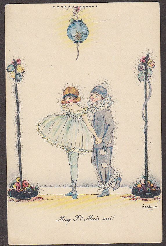X2189 Shand postcard, Pierrot and Pierrette, May I? Mais oui!, unused | eBay