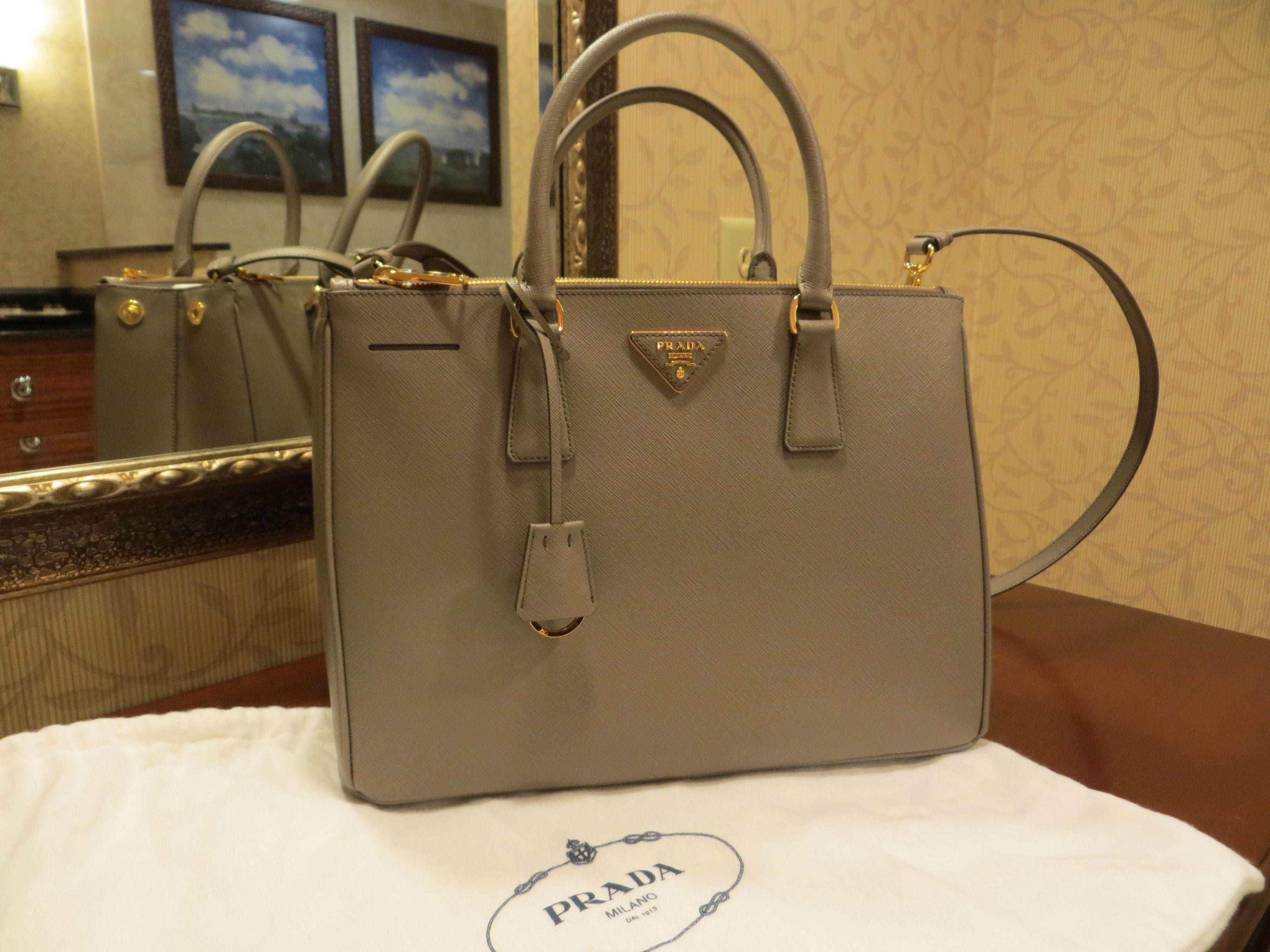 daa74aa4c680 Prada Saffiano Double Zip / Lux Tote Bag in Argilla Grey   My Style ...