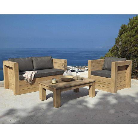 Fauteuil de jardin en sapin gris | maison A | Wooden garden benches ...