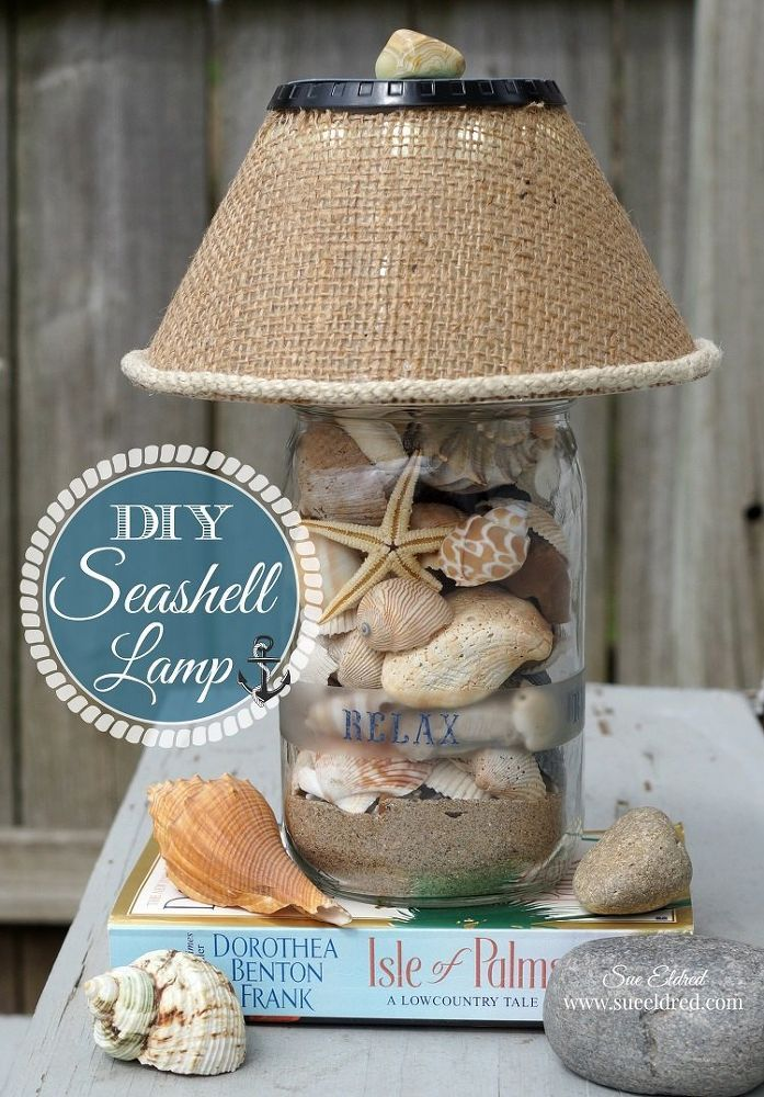Diy seashell lamp clear vases for Large seashells for crafts