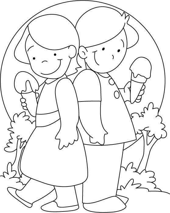 Enjoying ice cream coloring pages | Download Free Enjoying ice ...