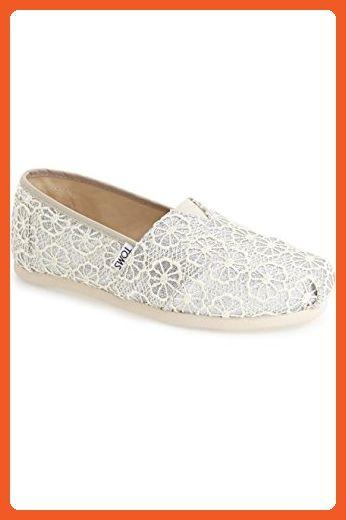 369bee359955c Toms Women's 10009299 Crochet Glitter Alpargata Flat, Silver, 6.5 M ...