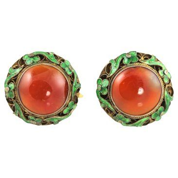 Check out this item at One Kings Lane! Chinese Export Carnelian Earrings