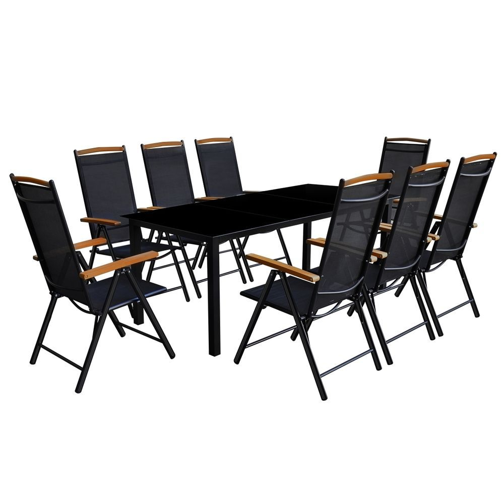 9 Piece Garden Patio Furniture Set Table With Glass Top 400 x 300