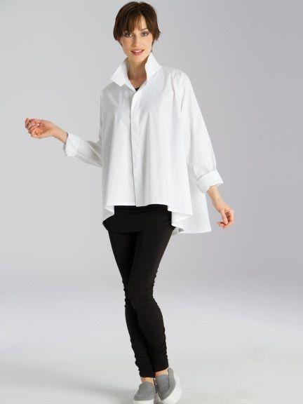 1b837e96996 Swing Shirt Crisp cotton shirt with button placket. Beautiful swing shape.  Back yoke and soft drape.