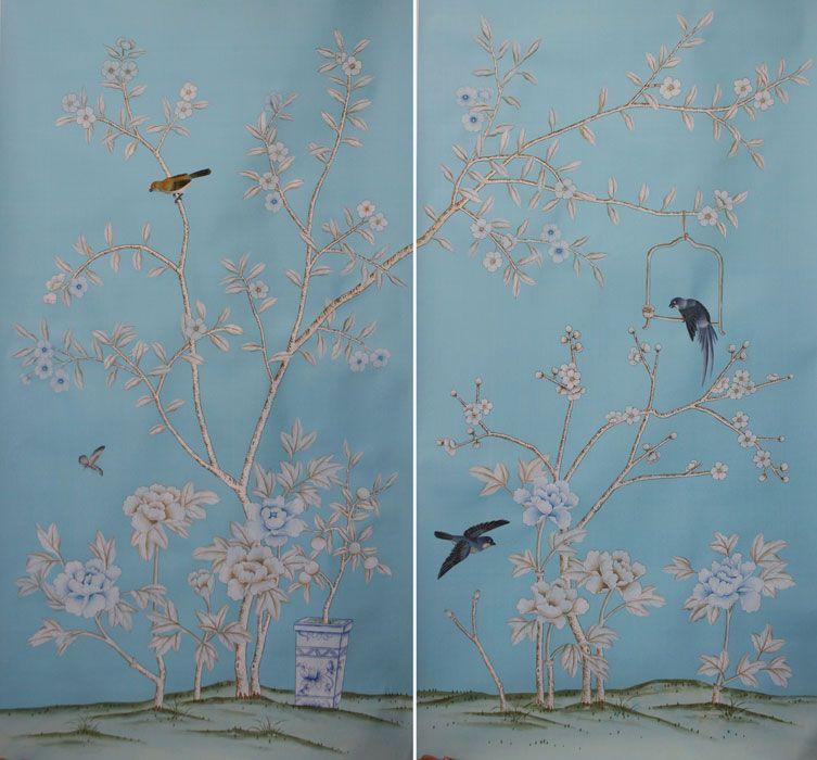 Shen De Tang Panels Wallpaper Hand Painted Wallpaper