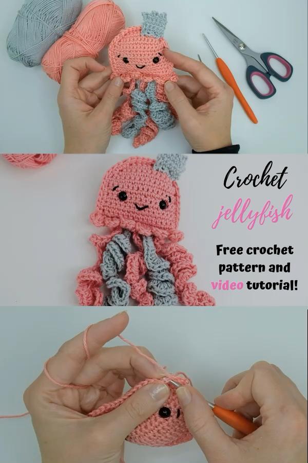 Crochet ragdoll jellyfish - a free crochet pattern