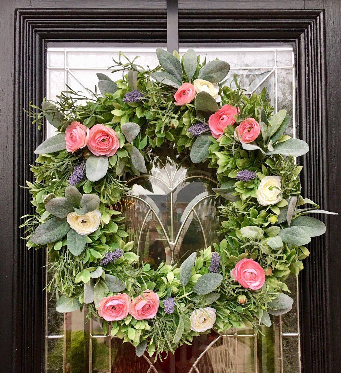 Photo of Farmhouse Wreath, Spring Wreath, Housewarming Gift, Wedding Gift, Lamb's Ear Wreath, floral wreath, year around wreath, modern farmhouse,