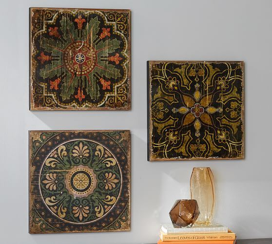 Wall Decor Tiles Sahara Printed Wood Tiles Wall Art Set Of 3  Wall Art Sets