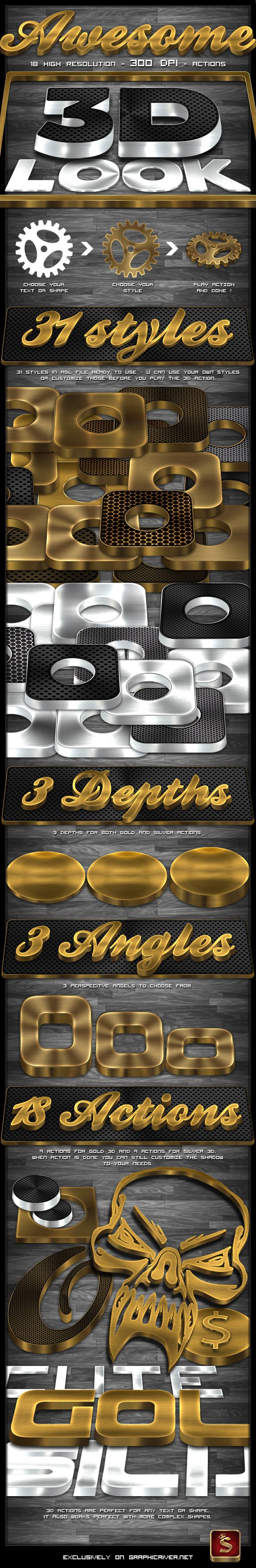 3D Gold And Silver Generator - Text Effects Actions | Cool Photoshop