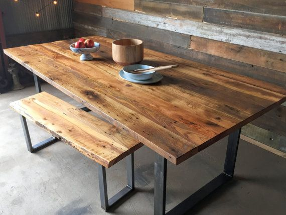 Industrial Dining Table Made From Reclaimed Wood Industrial