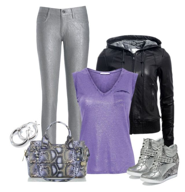 """""""Snake Print + Metallic Silver"""" by dragonflyy86 ❤ liked on Polyvore featuring Danier, French Connection, Aaiko, Brahmin, Naughty Monkey and Blue Nile"""