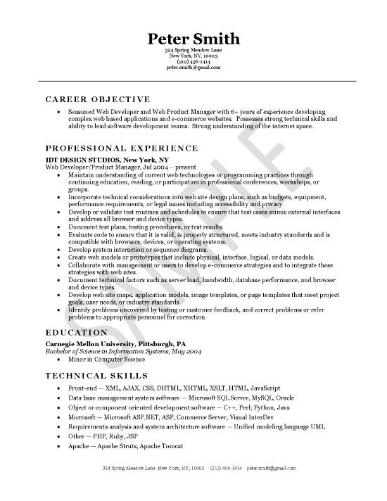 Tsm Administration Sample Resume Web Developer Resume Example  Web Developer Resume Resume