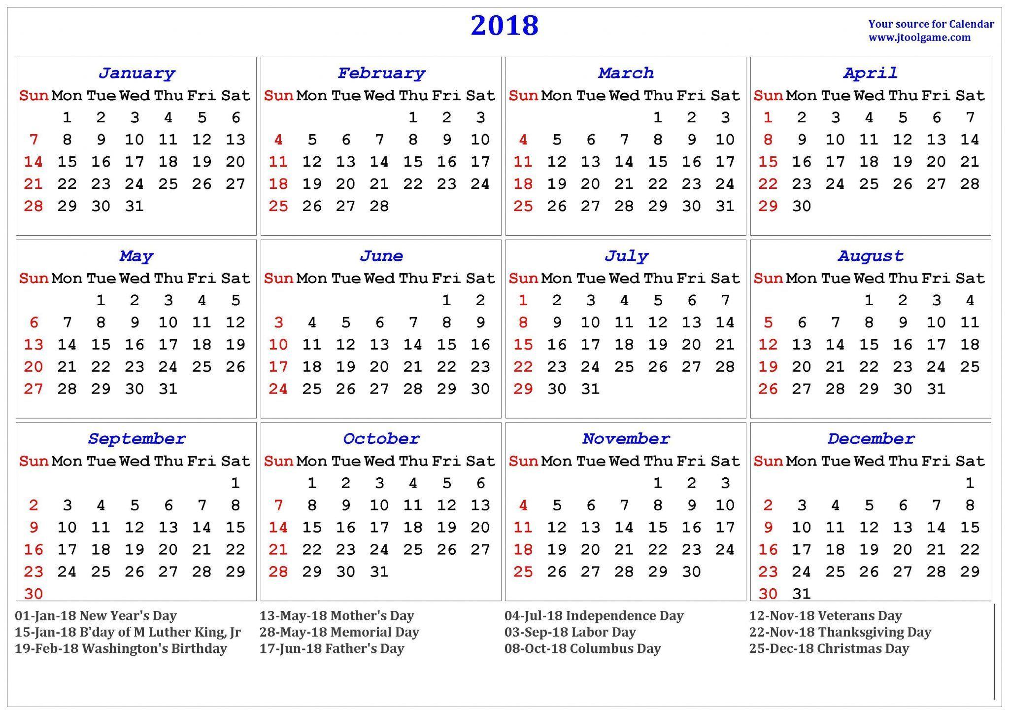 Get Calendar 2019 with USA Holidays Printable of School