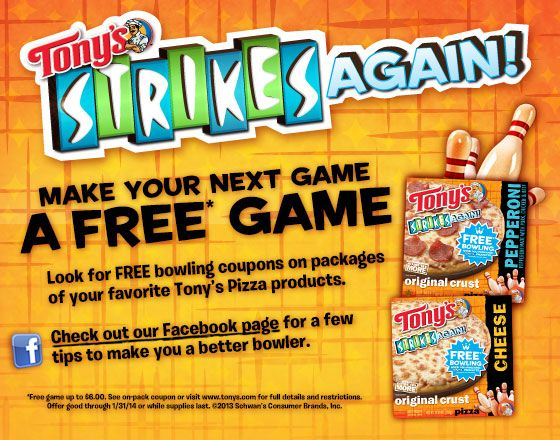 Tony's FREE Game of Bowling!! Do you love #pizza and #bowling? Go to http://gobowling.com/Promotions/Tony-s-FREE-Game-of-Bowling for more details!