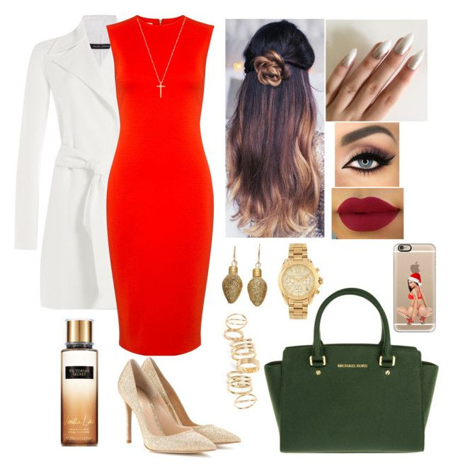 Happy Christmas by mrsbreezy0522 on Polyvore featuring polyvore fashion style McQ by Alexander McQueen Ralph Lauren Black Label Gianvito Rossi MICHAEL Michael Kors BP. Michael Kors Gucci Casetify clothing