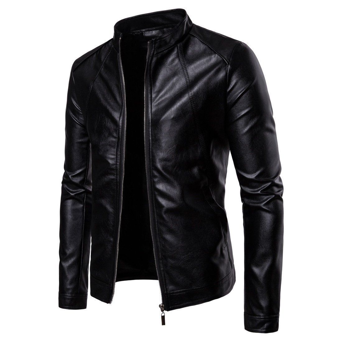 Fashion Cool Plain Leather Zipper Lapel Collar Jacket In 2021 Leather Jacket Men Business Casual Coat Mens Outfits [ 1100 x 1100 Pixel ]