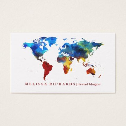 Colorful world map travel blog business card pinterest business colorful world map travel blog business card trendy gifts cool gift ideas customize gumiabroncs Image collections