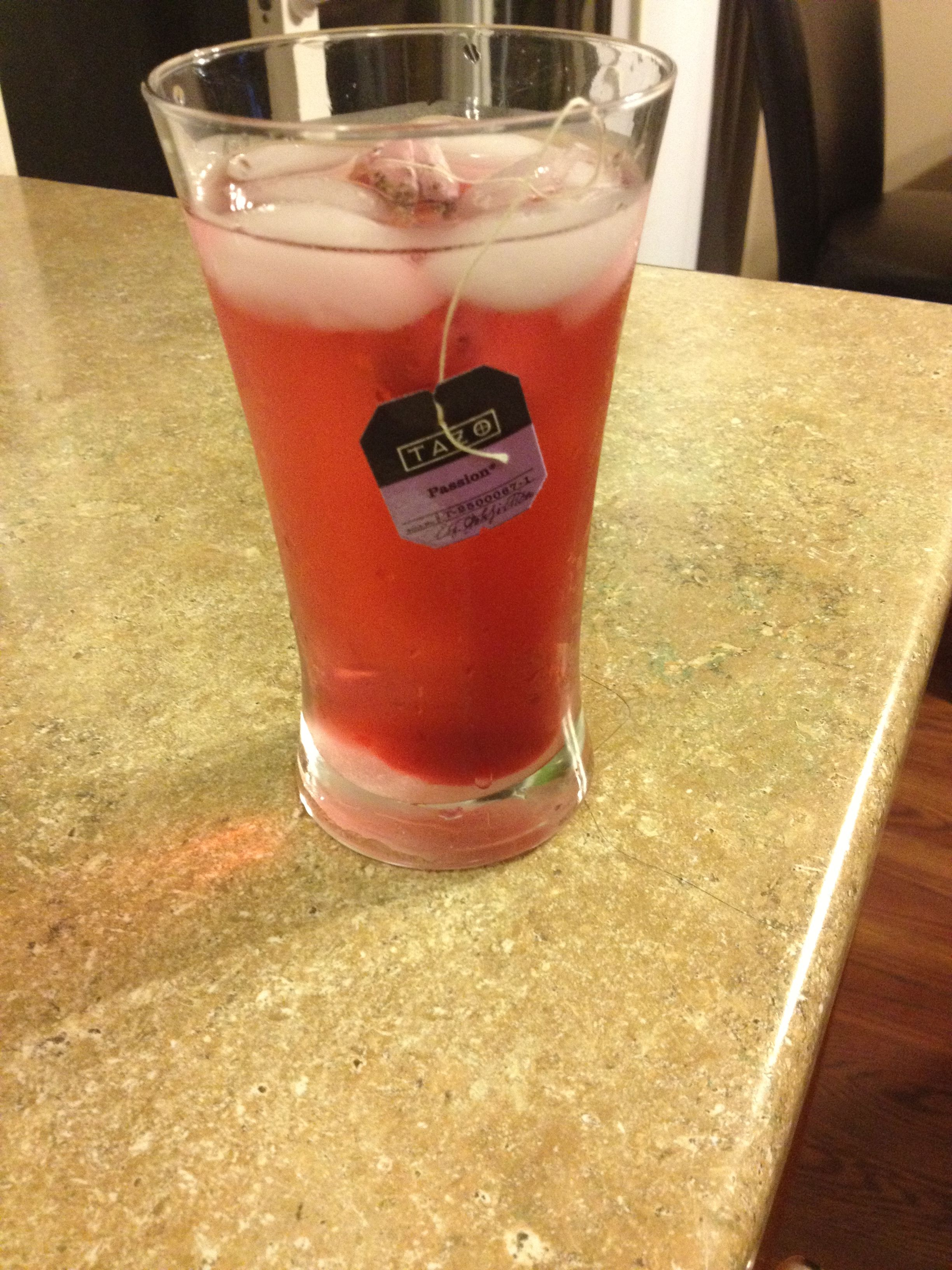 Starbucks passion tea at home. With three teaspoons of sugar! What an easy refresher:)