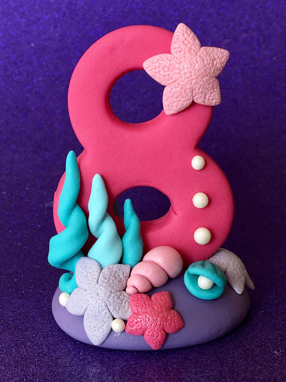 Edible 3d mermaid inspired number topper mermaid cookies