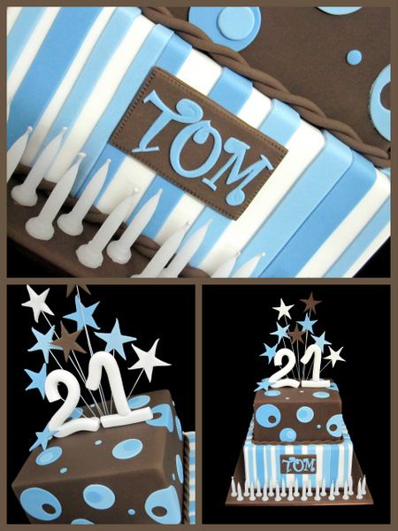 Magnificent 21St Birthday Cake In Blues And Brown Perfect For A Boy 21St Funny Birthday Cards Online Amentibdeldamsfinfo