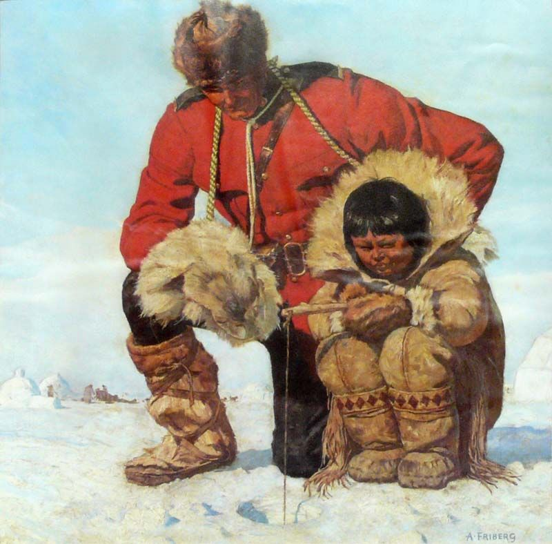 A study of a Mountie with Escimo child fishing       Artist: Arnold Friberg
