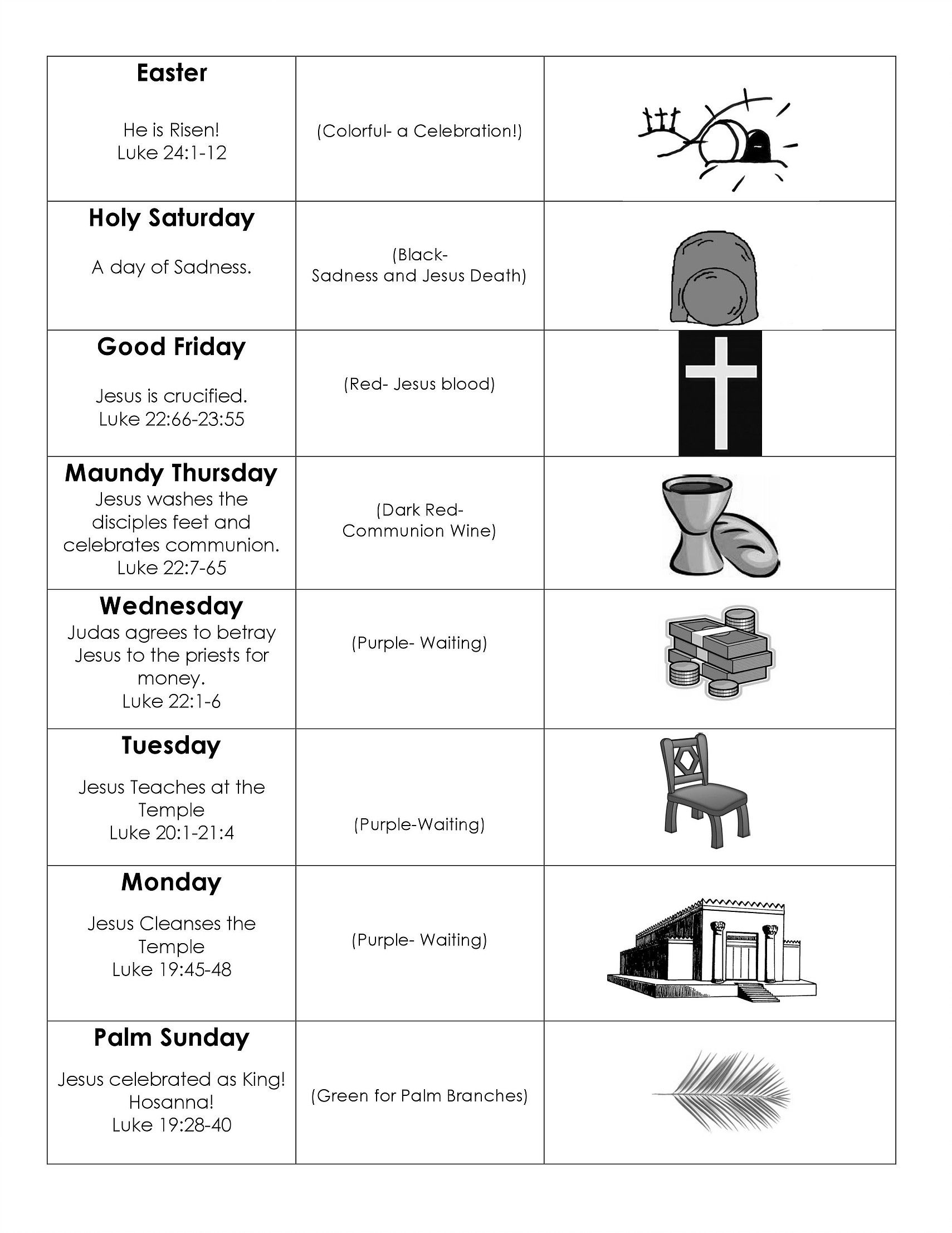 Worship With Children Printable Holy Week Charts
