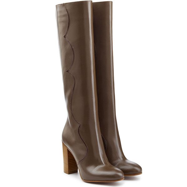 LAutre Chose Leather Knee Boots ($165) ❤ liked on Polyvore featuring shoes, boots, heeled boots, scarpe, brown, knee boots, tall heel boots, brown knee boots, knee high boots and leather knee high heel boots