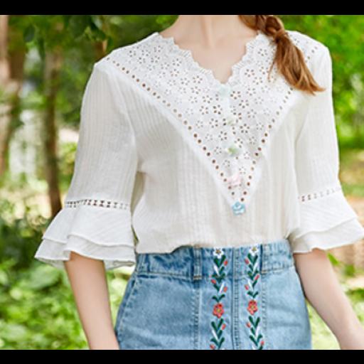 بلوزة صيفي بيضاء بتخريم صغير دقيق Long Sleeve Blouse Sleeve Top Bell Sleeve Top