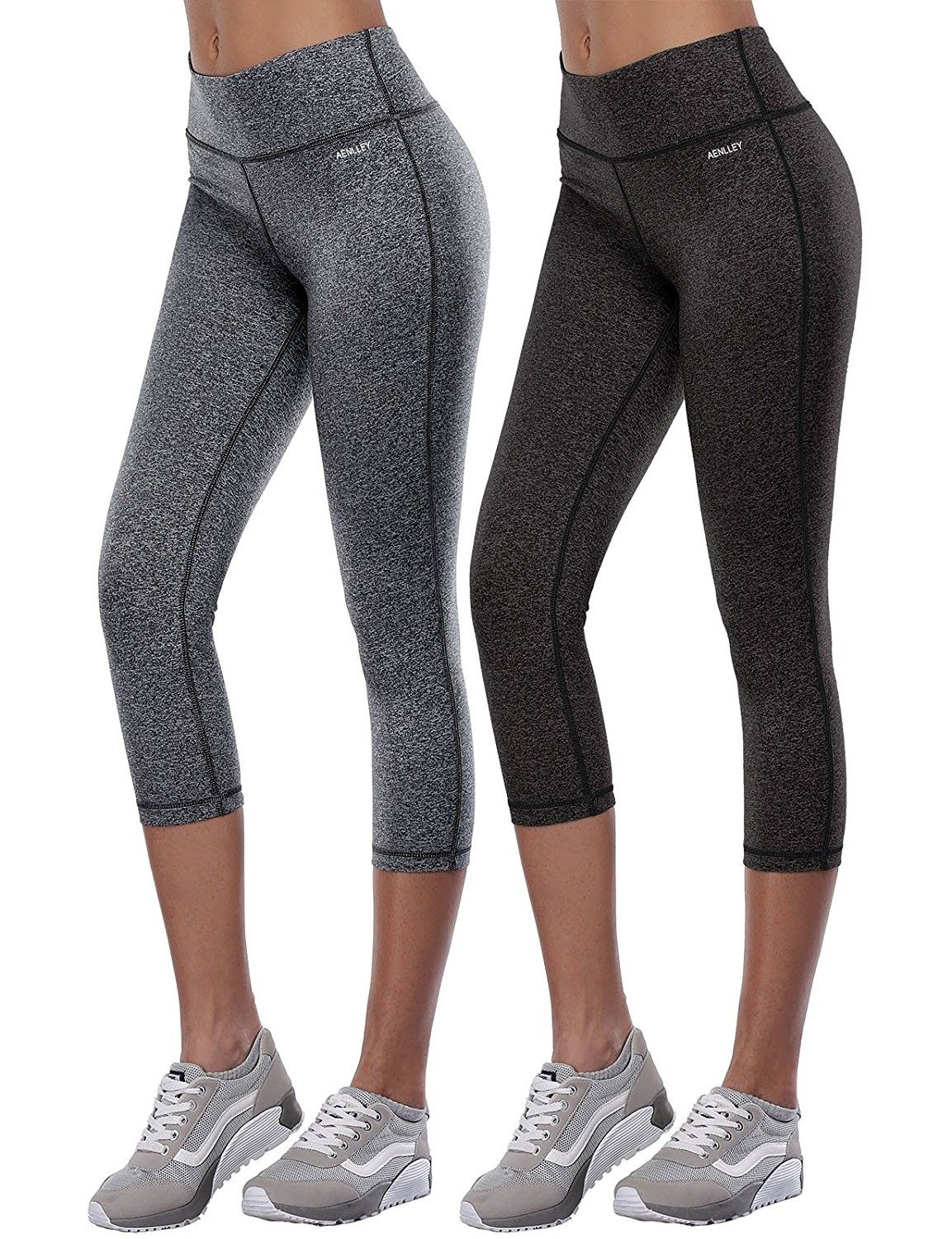 733b943c769 Women s Activewear Yoga Pants High Rise Slim Fit Tights Cropped Capris  Color Black Of 2 - Black+grey - CP12ETIEIIF