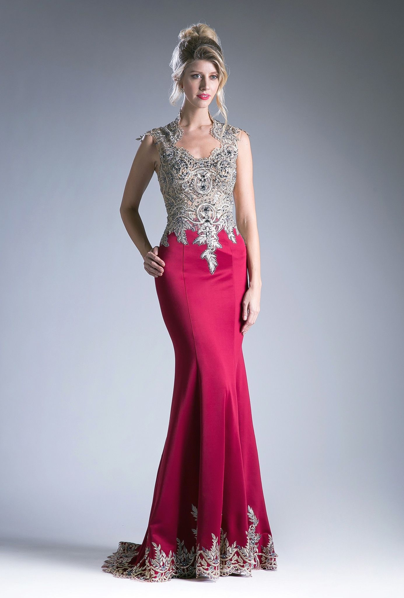 Long sleeveless dress with beaded lace applique by cinderella divine