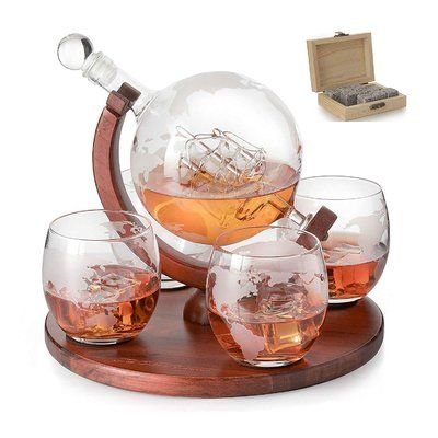 Darby Home Co Dunkirk Glass Globe On Wood 5 Piece Beverage Serving Set Whiskey Decanter Set Decanter Set Whiskey Gift Set